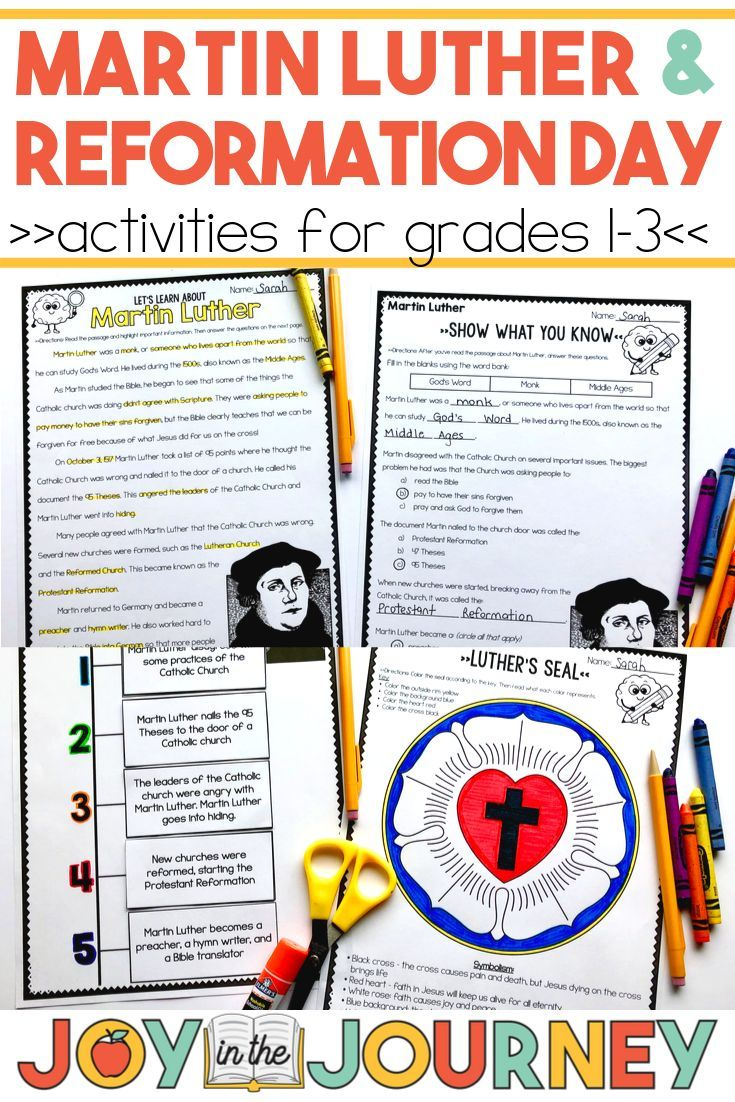 Martin Luther Reformation Day Grades 1 3 With Images
