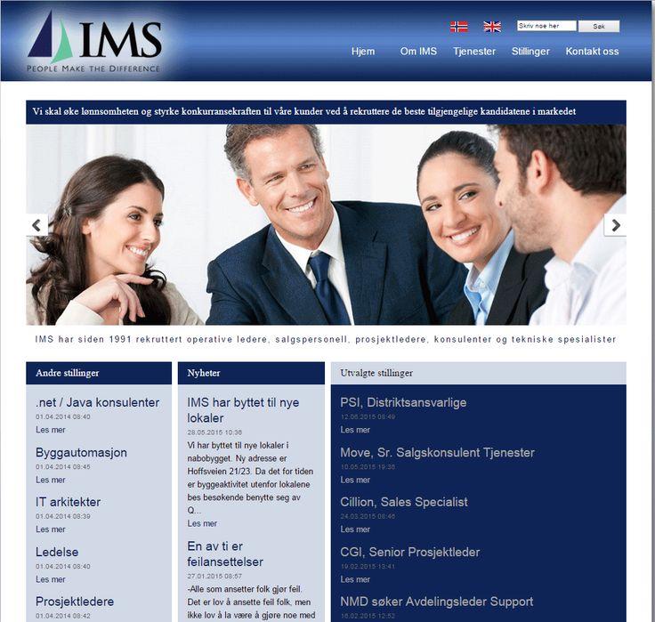 Dette er nettsiden til rekrutteringsbyrået IMS.   De har brukt Idium Web+.