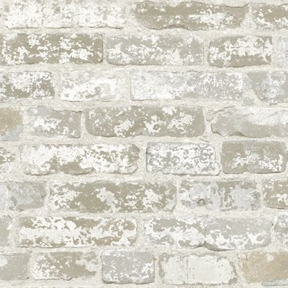 Real Looking Gray Brick with Plaster Wallpaper Double Roll RB4304 - papermywalls.com
