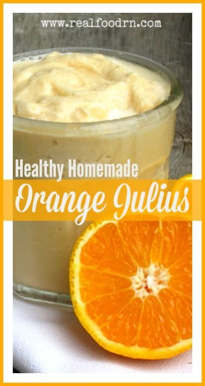 Healthy Orange Julius Recipe. Tastes just like the sugar filled orange julius you can find at the mall, only its filled with healthy ingredients. Super easy to make, and definitely a kid favorite. Sneak some nutrition into breakfast with this one! realfoodrn.com