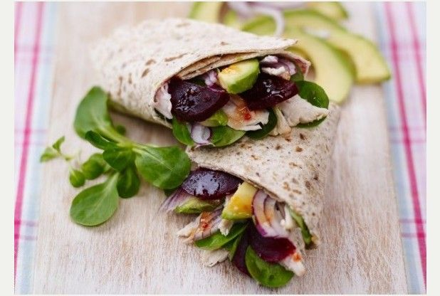 Feed the family for a fiver with beetroot and turkey wraps