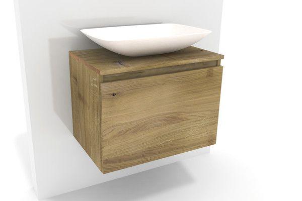 Waschtischunterschrank lysta eiche mit aufsatzbecken in for Waschtischunterschrank echtholz
