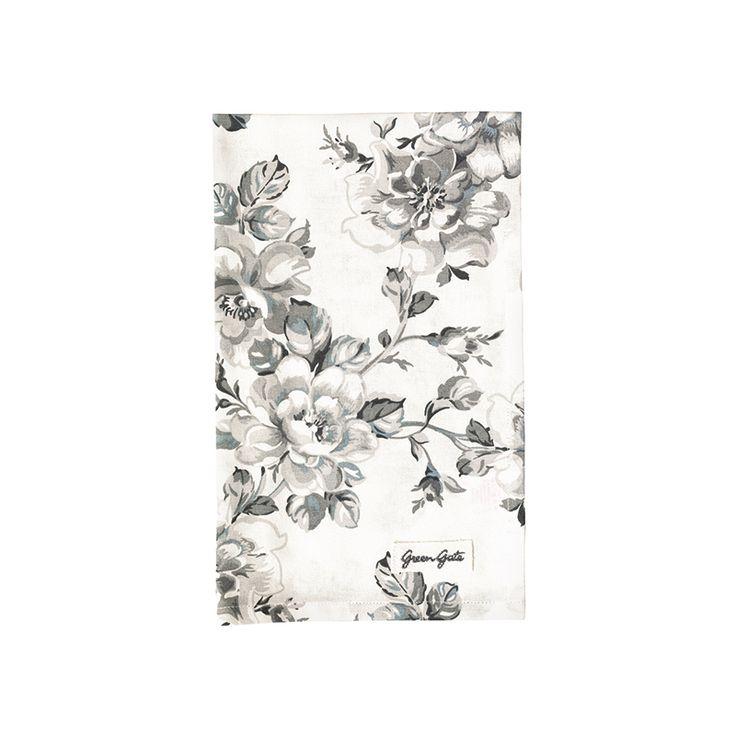 piękny biały ręcznik kuchenny MARIA WARM GREY w subtelny kwiatowy szary wzór firmy Green Gate