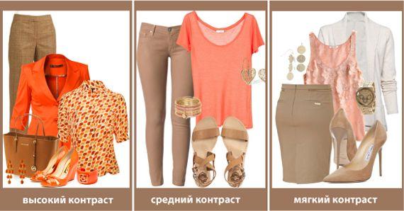 Сочетание цвета одежды по насыщенности Сочетание цвета одежды по насыщенности Это комбинация выраженных оттенков с нейтральными, сложными или приглушенными. Такие сочетания тоже могут быть разной выраженности.