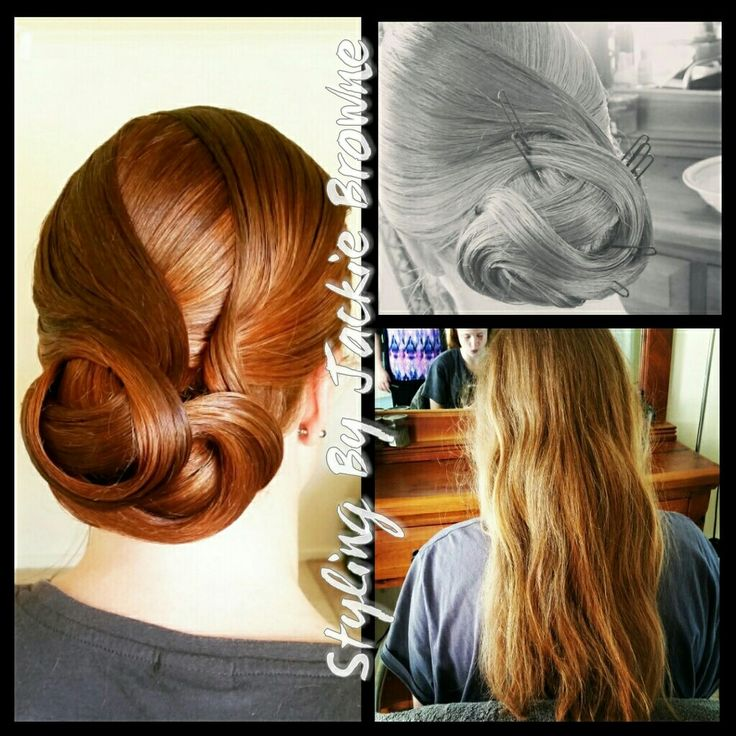 Polished curl chignon upstyle on my eldest daughter.  Bride and Bridesmaids hair. Wedding day hair