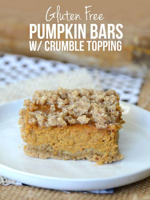 Gluten Free Pumpkin Bars w/ Crumble Topping #recipe #healthyrecipe #glutenfree
