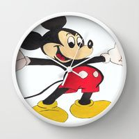 Wall Clock featuring Mickey Mouse says Hello by jt7art&design