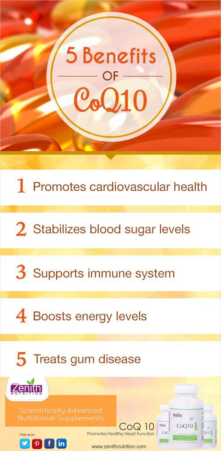 5 benefits of Coenzyme Q10. Promotes Cardiovascular health. Stabilizes blood sugar levels. Supports Immune system. Boosts enery levels. Treats gum disease. Co Q10 best supplement from Zenith Nutrition. Health Supplements. Nutritional Supplements. Health Infographics.