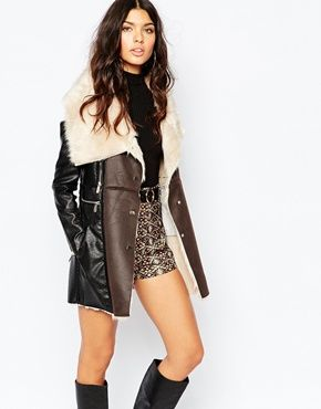 fitflop new arrival 2014 River Island Shearling Mix Coat