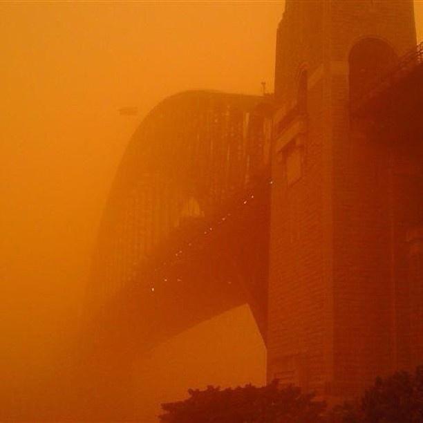 Carmen's #magical Bridge moment - during the 2009 #sydney #dust #storm. Congratulations, you're today's competition winner! You've won a double pass! #bridgeclimb