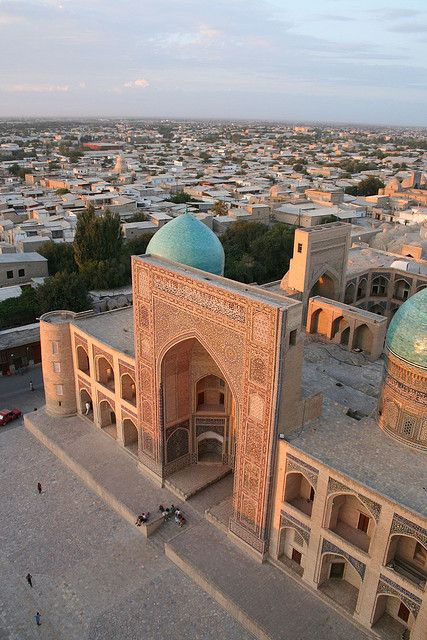 Mir-i Arab Madrasah, Bukhara, Uzbekistan, built in the 1500s, is part of the architectural complex at the foot of the great Kalyan minaret.  by FO Travel