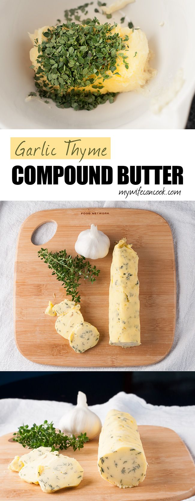 Garlic Thyme Compound Butter! Aaah, butter. Sweet, sweet butter. You make everything taste so good. Today we'll show you how to make some amazing Garlic Thyme Compound Butter, we'll delve into the Butter vs. Margarine Debate, we'll cut through the fat (give you the skinny on trans fats and saturated fats), and we'll unearth some hidden talents of butter. www.mywifecancook...