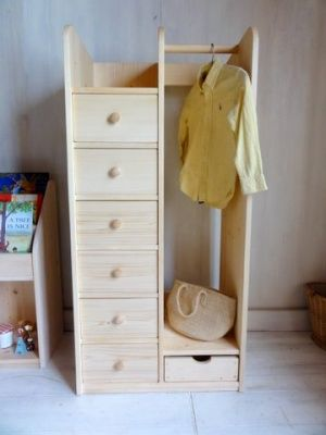 木の子供ハンガーラック 引出付 ナチュラル(横幅60ハイタイプ) 販売価格: 47,000円 (税別)