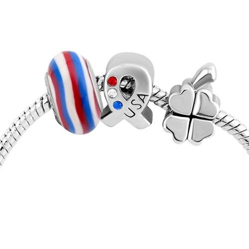 Strip Murano Glass Silver Plated Lucky Shamrock Usa Flag Ribbon Beads Set Bracelet Pandora Compatible | Charmsstory.com #charms #bracelet #pandora #luckycharms #usflag
