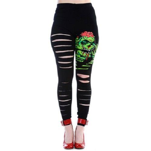 Zombie gescheurde legging zwart/groen - horror