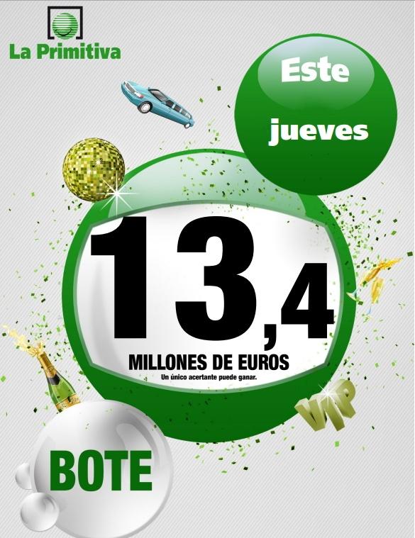 La Primitiva, Bote 13,4 Millones €, Martes 11/04/2013