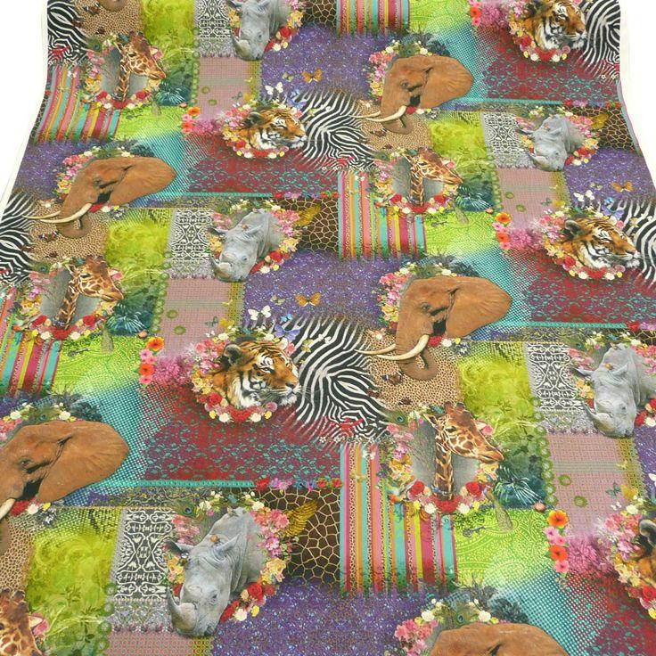 Baumwollstoff Fantasie Tiere Afrika Stoff Dekostoff Digitaldruck Alle Stoffe Stoffe gemustert Kinderstoffe