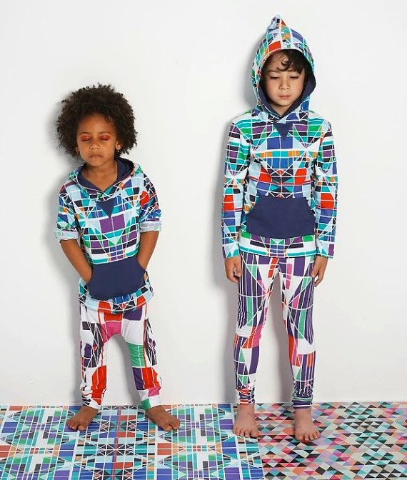 geometric organic cotton summer hoodie for kids