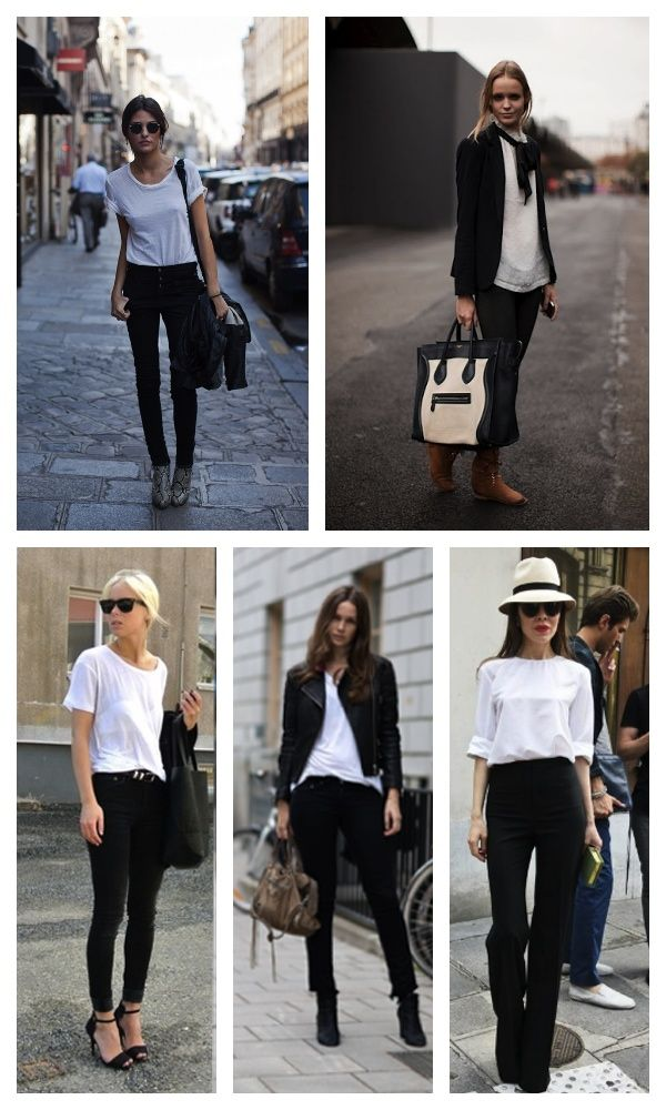 white and black: Favorite Colors, Black And White, Great Outfits, White Shirts, Colors Palettes, Black White, Lawn Parties, Black Pants, Favorite Weights