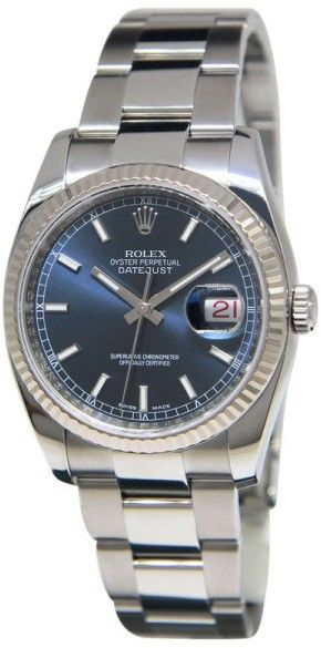 Rolex 116234 Datejust Stainless Steel 18K White Gold Bezel Blue Dial Mens Watch