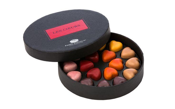 <p>The Cœur Framboise, Maison Pierre Marcolini's iconic heart-shaped raspberry chocolate ganache, is joined by 5 brand new pairings of flavours and emotions: lemon Frisson, passion fruit Passion, pistachio praline Plaisir, nougat praline Tendr