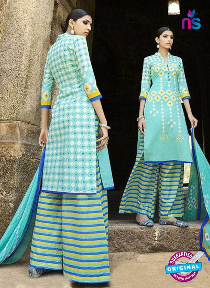 Omtex 1209 A Sky Blue and Yellow Lawn Cotton Plazzo Suit #omtexsalwarsuitsonline #designeromtexsalwarsuits