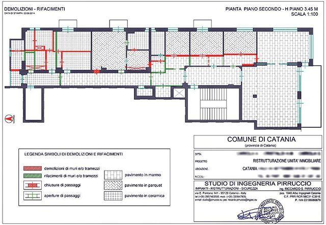 Pianta delle demolizioni e rifacimenti per lavoro di ristrutturazione eseguita tra il 2014 e 2015 | Catania.Sicilia.Italia