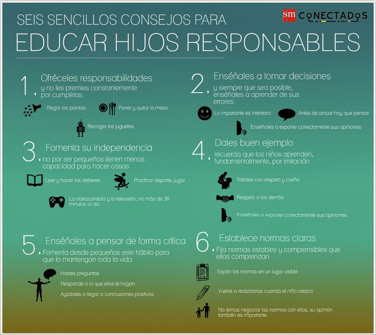 SEIS SENCILLOS CONSEJOS PARA EDUCAR HIJOS RESPONSABLES