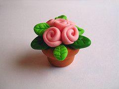 flower pot cupcake topper tutorial porcelana fria polymer clay