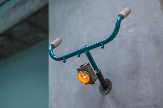 Interesting Bar Interior Design Recycling Old Bikes into Unique Furniture