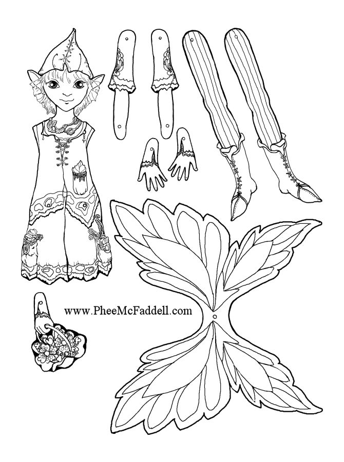 Mayfly fairy puppet to color cut out assemble punch for Fairy cut out template