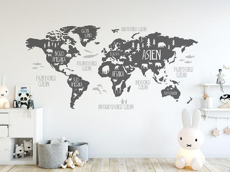 Wandtattoo Weltkarte mit Tieren