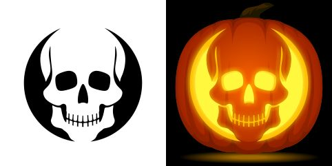 Skull pumpkin carving stencil. Free PDF pattern to download and print at http://pumpkinstencils.org/download/skull-pumpkin-stencil/