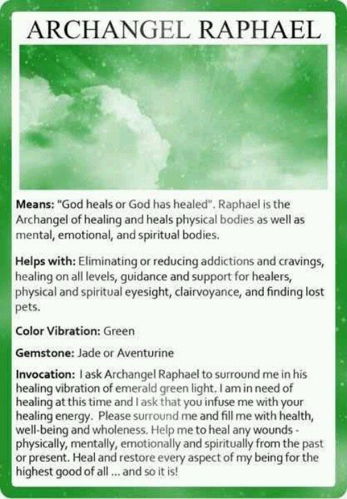 Archangel Raphael, guidance and support for healers.