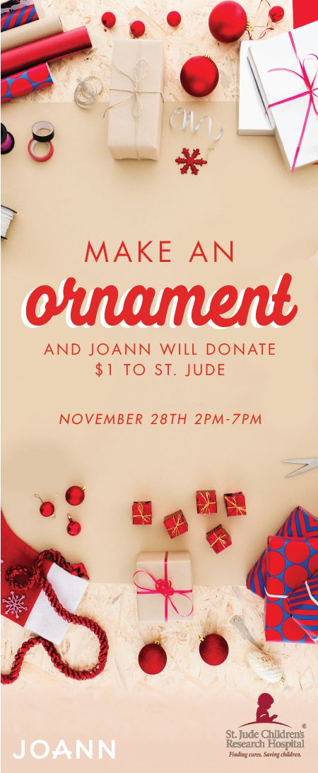 'Tis the season of giving and festive craft projects. See how the two combine by making a holiday ornament at JOANN stores November 28th! With each decoration made, a donation will be given to St. Jude Children's Research Hospital—who knew fun projects could be so powerful?! Get into the creative spirit and do your part to give back this Christmas by checking out this unique celebration.