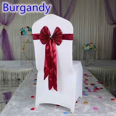 Burgandy colour wedding chair sash long tail wedding butterfly bow tie lycra band stretch bow tie ribbon chair decoration sale