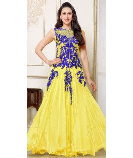 Creepy Yellow And Blue Net Anarkali Suit.