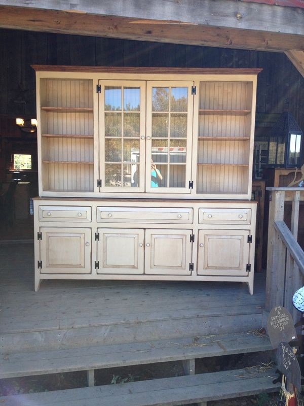 Distressed Cream Hutch And Buffet Dining Room