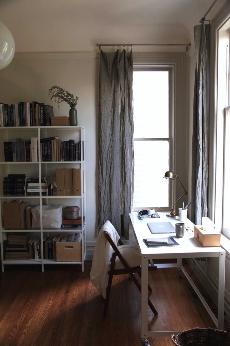 DIY Long Gray Linen Curtains in an Apartment Office