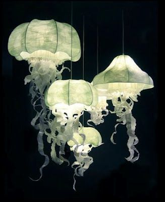 Paper sculpture lighting jellyfish artist geraldine for Jellyfish light fixture