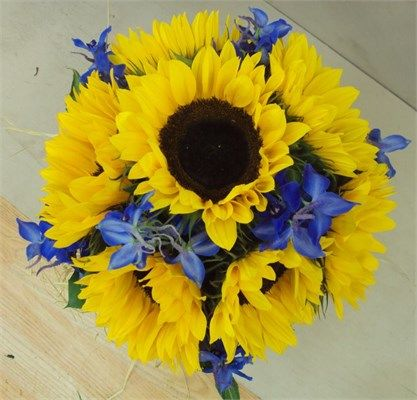 Sunflowers & delphiniums bouquet (totally a new direction but I really like this also...)