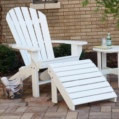 Outdoor Jayhawk Plastics Recycled Plastic Seaside Adirondack Chair And Ottoman Set Tropical Red - JP063-4