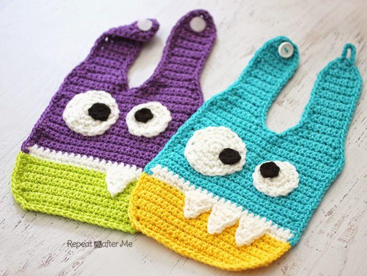 Repeat Crafter Me: Crochet Monster Baby Bibs ༺✿ƬⱤღ✿༻