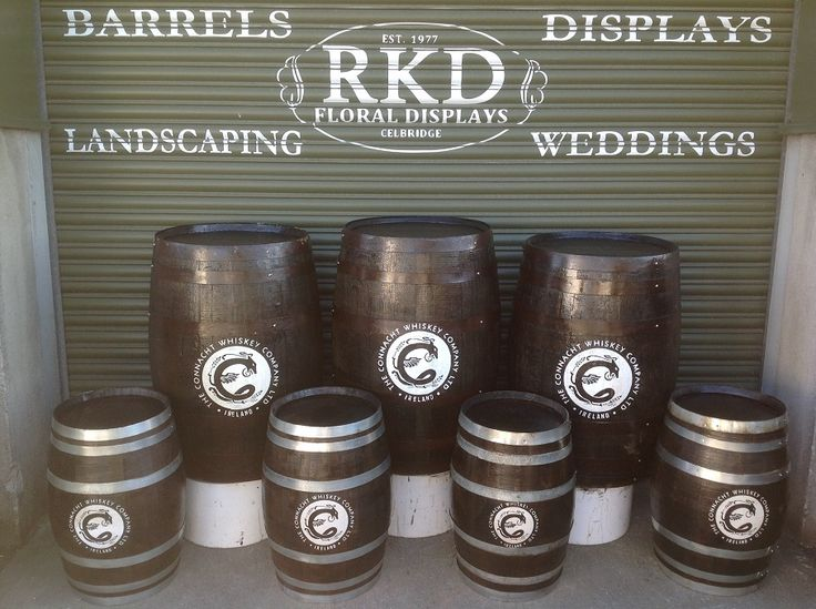The Connacht Whiskey Company whiskey barrels branded By RKD Floral Displays