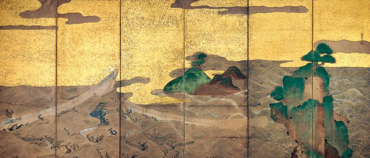 Boats on the Sea. Studio of Tawaraya Sōtatsu (俵屋宗達工房). Rinpa style. Edo period, 17th century. One of a pair of six-panel folding screens; ink, color, gold, and silver on paper. Donated to the Minneapolis Institute of Art by the Mary and Jackson Burke Foundation in 2015.