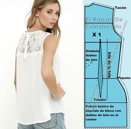 Patrón básico de espalda de blusa con dobles de tela (Método actualizado)