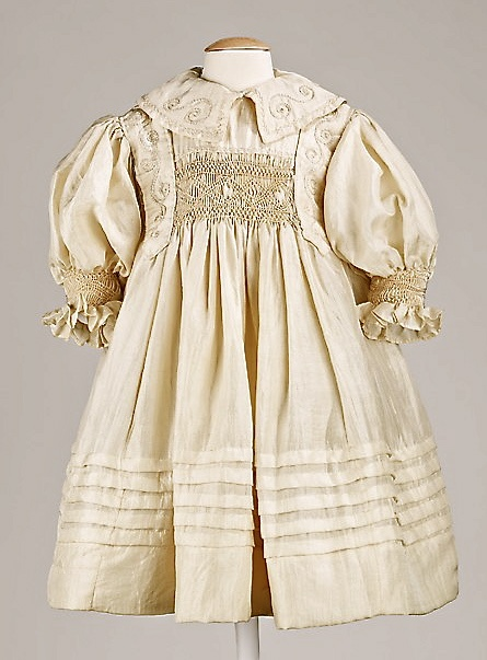 incredibly beautiful antique, American made, hand smocked silk child's dress ... c,1895, gift from the Brooklyn Museum's costume collection to the Metropolitan Museum of Art. Photo courtesy the Metropolitian Museum of Art costume collection