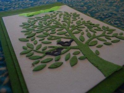 Fair trade Card - Green tree with Black Birds. Made in Bangladesh.