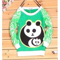 Panda Trui met Bamboo mouwen Groen
