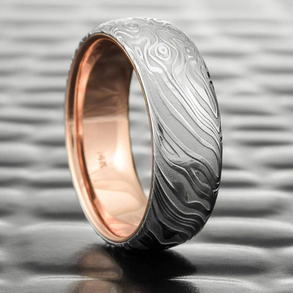Damascus Steel Wave Pattern Band Ring With Waves Damascus Steel Band Wood Grain Bold Damascus Bold Wedding Band Men Ring Man Band In 2021 Damascus Steel Wedding Band Damascus Steel Ring